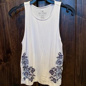 WHITE WITH BLUE FLOWERS AEO TANK TOP